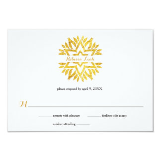 Gold Foil Look Star Mandala Bat Mitzvah Reply RSVP Card