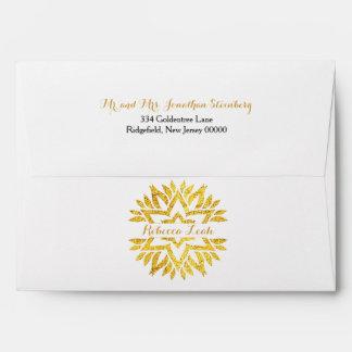 Gold Foil Look Star of David Mandala Bat Mitzvah Envelope
