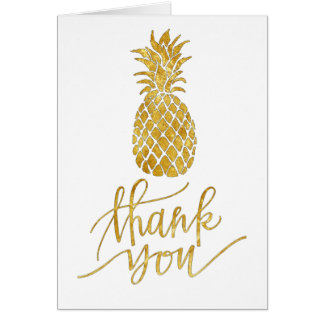 gold foil look thank you script pineapple card