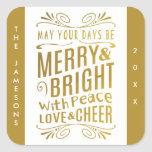 Gold Foil Look Typography Holiday Stickers