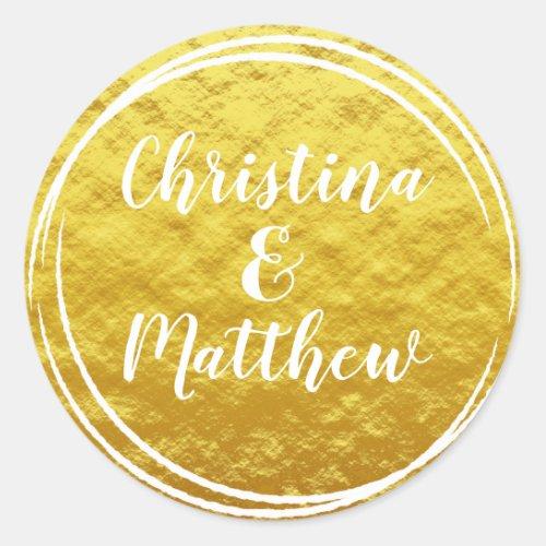 Gold Foil Look Wedding Envelope Seal