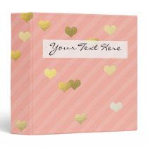 gold foil love hearts pattern, pastel pink stripes binder