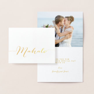 Gold Foil Mahalo Script Wedding Thank You Photo Foil Card