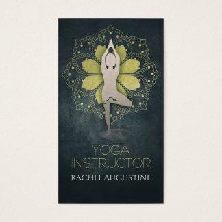 Gold Foil Mandala Floral & Yoga Meditation Pose Om Business Card