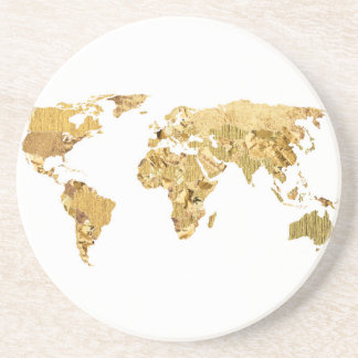 Gold Foil Map Drink Coaster