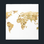 """Gold Foil Map Notepad<br><div class=""""desc"""">A world map made up of gold foil sections.</div>"""