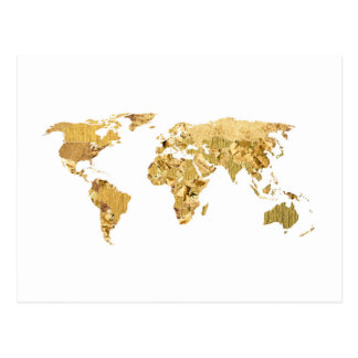 Gold Foil Map Postcard