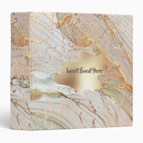 Gold foil marble geode texture watercolor splash 3 ring binder
