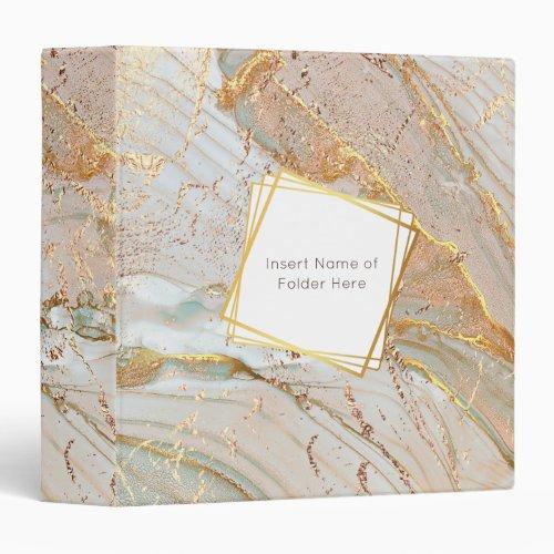 Gold foil marble geometric frame liquid ink 3 ring binder