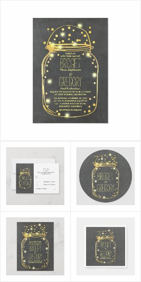 Gold Foil Mason Jar Confetti Wedding Collection