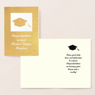 Gold Foil Master's Degree Graduation Card