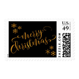 Gold Foil Merry Christmas in Script w/ Snowflakes Postage