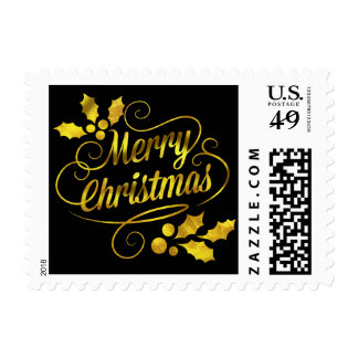 Gold Foil Merry Christmas Typography | black Postage