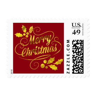 Gold Foil Merry Christmas Typography | burgundy Postage