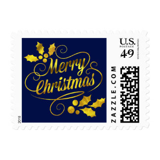 Gold Foil Merry Christmas Typography | navy Postage