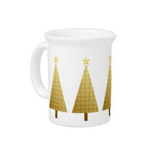 Gold foil modern Christmas tree Drink Pitcher