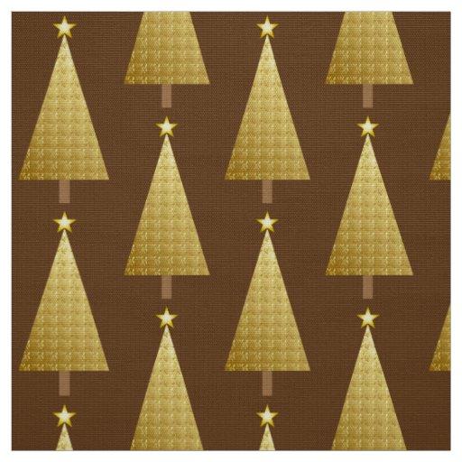 Modern Gold Christmas Tree Of Gold Foil Modern Christmas Tree Fabric Zazzle
