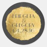Gold Foil Modern Wedding Classic Round Sticker