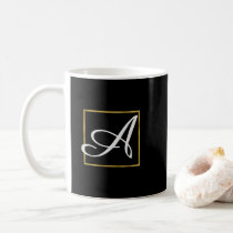 Gold Foil Monogram Coffee or Tea Cup
