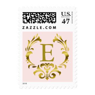 Gold Foil Monogram Emblem | blush pink Postage