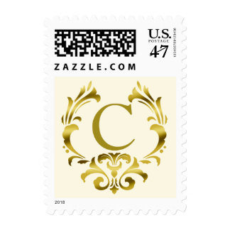 Gold Foil Monogram Emblem | Ivory Postage