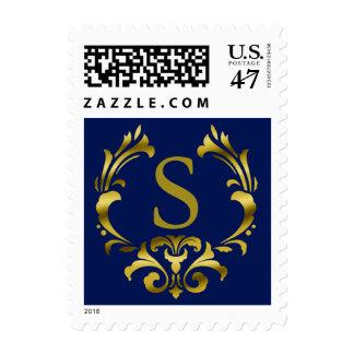 Gold Foil Monogram Emblem | navy blue Postage
