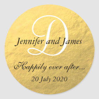 Gold Foil Monogram Stickers for Wedding Favors