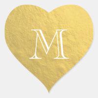 Gold Foil Monogram Wedding Heart Sticker