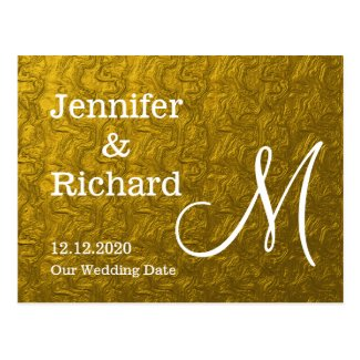 Gold Foil Monogrammed Save The Date Postcard