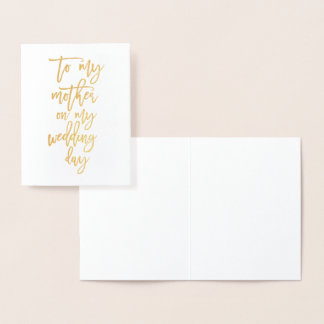 Gold Foil Mother of the bride Wedding Thank You Foil Card