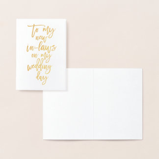 Gold Foil New In Laws Wedding Day Thank You Card