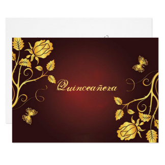 Gold Foil on Burgundy, Quinceanera Invitation