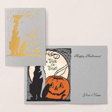 Halloween Themed Gold Foil Orange Pumpkin, Moon & Black Cat Foil Card