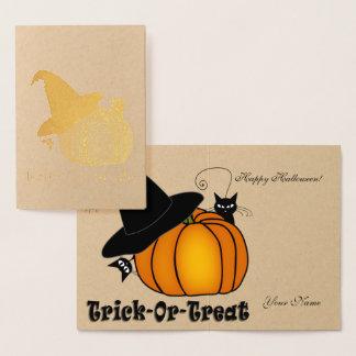 Gold Foil Orange Pumpkin, Witch Hat, & Black Cats Foil Card