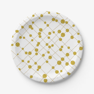 Gold foil pattern modern and contemporary paper plate