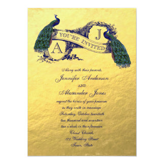 Gold Foil Peacock Vintage Wedding Invitation