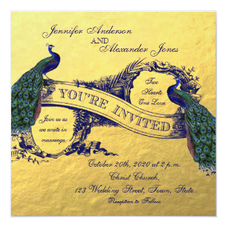 """Gold Foil Peacock Wedding Invitation 5.25"""" Square Invitation Card"""