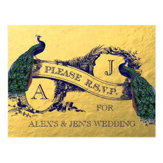 Gold Foil Peacock Wedding RSVP Postcard
