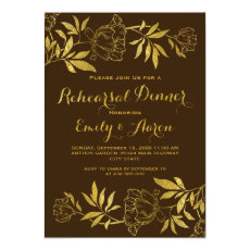 Gold foil peonies floral wedding rehearsal dinner 5