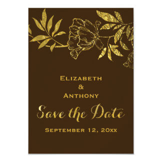 Gold foil peonies floral wedding Save the Date 4.5x6.25 Paper Invitation Card