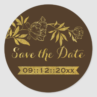 Gold foil peonies floral wedding Save the Date Classic Round Sticker