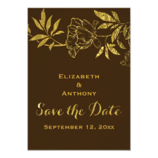 Gold foil peonies floral wedding Save the Date 4.5