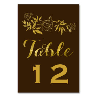 Gold foil peonies floral wedding table number table card