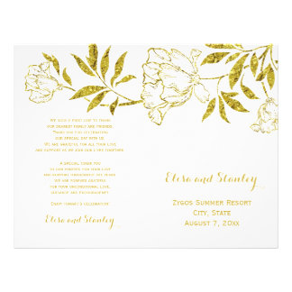 Gold foil peonies white wedding folded program flyer