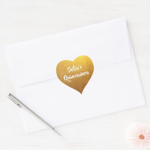 Gold Foil Photo Personalized Quinceaera Heart Sticker