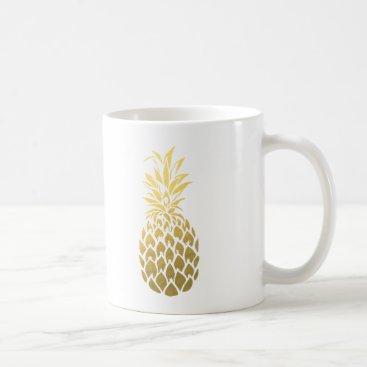 Coffee Themed Gold Foil Pineapple Coffee Mug