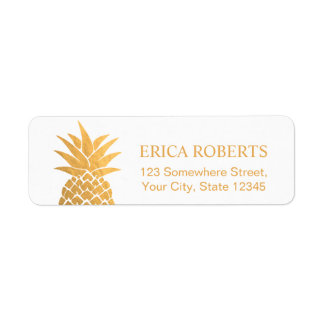 Gold Foil Pineapple Hawaiian Tropical Label