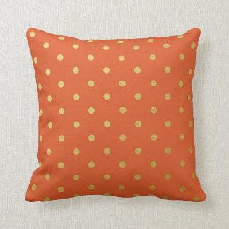 Gold Foil Polka Dots Modern Burnt Orange Metallic Throw Pillow