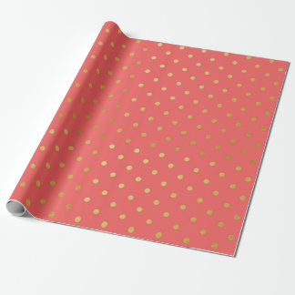 Gold Foil Polka Dots Modern Coral Pink Metallic Wrapping Paper