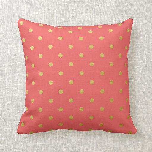 Gold Foil Polka Dots Modern Coral Pink Pillow Zazzle
